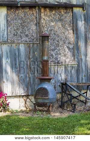 A pot belly out side wood stove