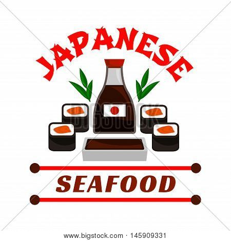 Japanese seafood restaurant emblem. Sushi rolls and sauce bottle icons. Oriental cuisine design for restaurant, eatery and menu. Advertising sticker for door signboard, poster, leaflet, flyer