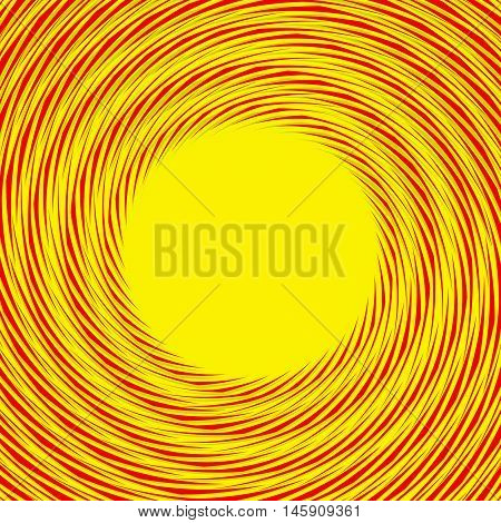 Red, Yellow Duotone Spiral Background. Circular Geometric Pattern