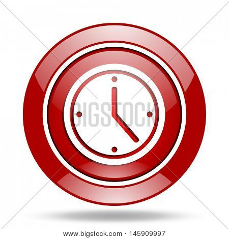 time round glossy red web icon