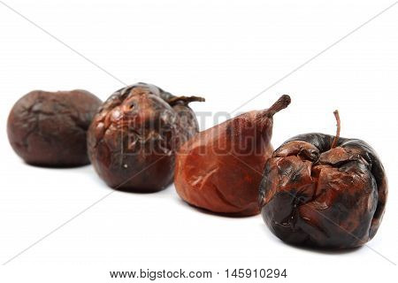 Rotten apple isolated on the white background.