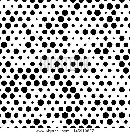 Seamlessly Repeatable Pattern With Random, Irregular Dots, Circles. Monochrome Abstract Illustration