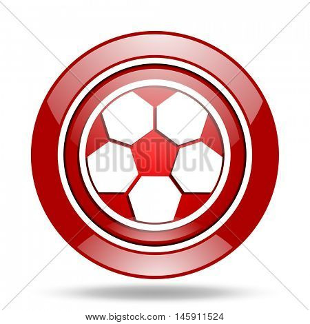 soccer round glossy red web icon