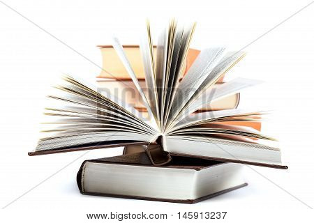 A stack of books isolated on a white background.