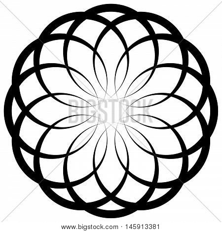 Circular Geometric Decorative Pattern. Abstract Round Element