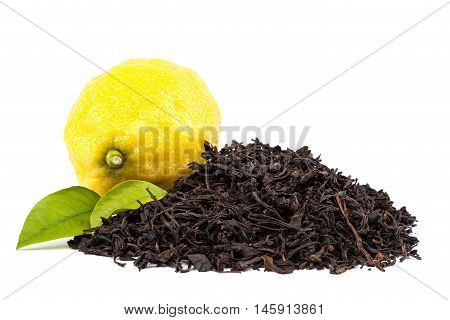 Fresh lemon and leaves Black tea isolated on a white background.
