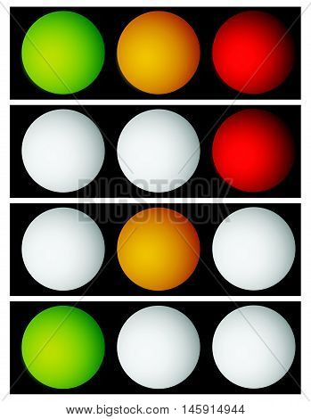 Horizontal Illuminated / Glowing Traffic Lights, Semaphores In Sequence