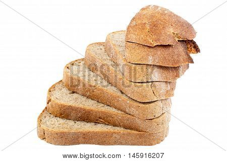 Bread rye sliced isolated on a white background.