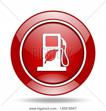 biofuel round glossy red web icon