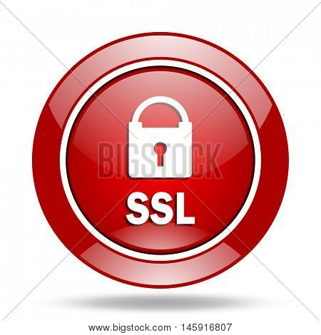 ssl round glossy red web icon