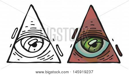 All seeing eye pyramid symbol. New World Order. Hand-drawn Eye of Providence. Alchemy religion spirituality occultism tattoo art. Isolated vector illustration. Conspiracy theory.