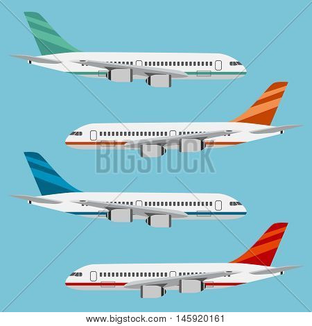 Set of colorful flat airplanes on the blue background.