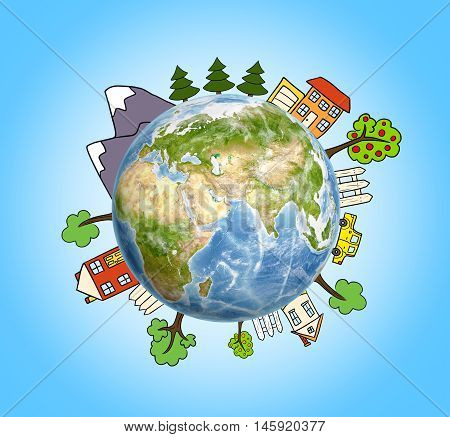 Planet Earth with drawn mountains, trees, a house and a car around it. Environmental issues. Nature and ecology. Eco-friendly living.