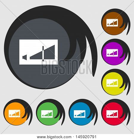 Volume Adjustment Icon Sign. Symbols On Eight Colored Buttons. Vector