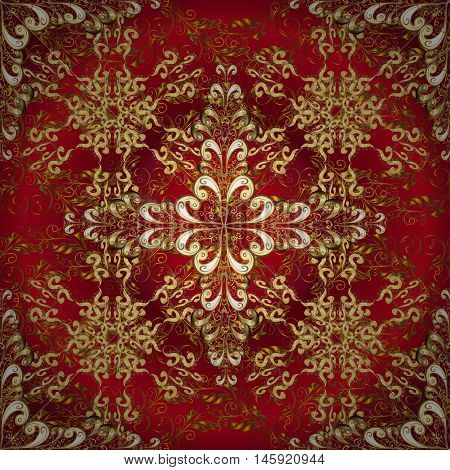 Abstract beautiful background with golden and white floral elements on dark red radial background.