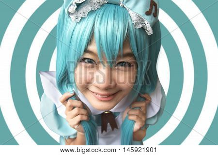 Japan anime cosplay , green cosplay set , maid . focus on face and blur background