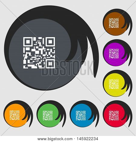 Barcode Icon Sign. Symbols On Eight Colored Buttons. Vector