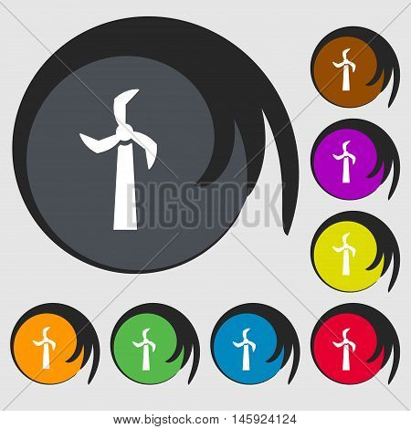 Windmill Icon Sign. Symbols On Eight Colored Buttons. Vector