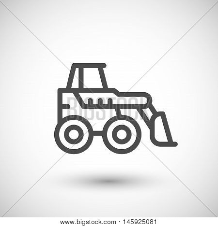 Mini earth mover line icon isolated on grey. Vector illustration
