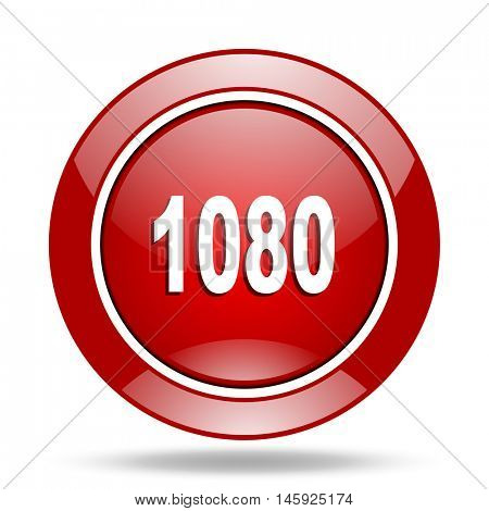 1080 round glossy red web icon
