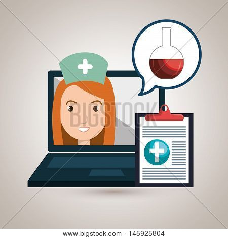woman nurse laptop health vector illustration graphic