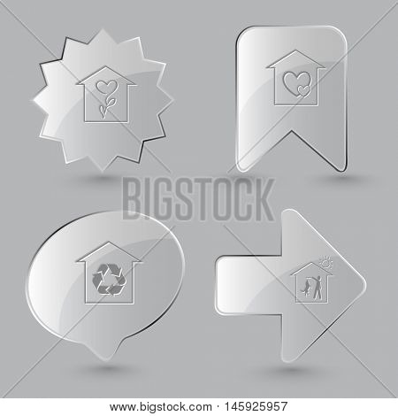 4 images: flower shop, orphanage, protection of nature, home dog. Home set. Glass buttons on gray background. Vector icons.