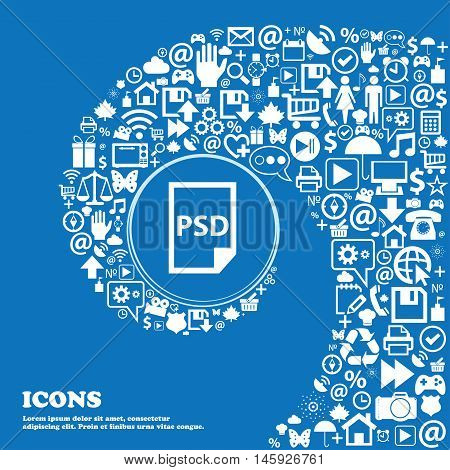 Psd Icon . Nice Set Of Beautiful Icons Twisted Spiral Into The Center Of One Large Icon. Vector