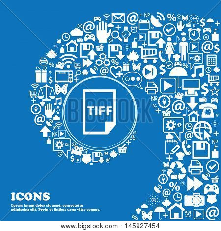 Tiff Icon. . Nice Set Of Beautiful Icons Twisted Spiral Into The Center Of One Large Icon. Vector