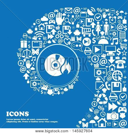 Cd Icon . Nice Set Of Beautiful Icons Twisted Spiral Into The Center Of One Large Icon. Vector