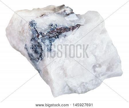 macro shooting of mineral resources - stone with Wolframite ore isolated on white background poster