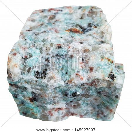 Amazonitic Granite Mineral Isolated On White