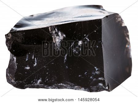 Black Obsidian (volcanic Glass) Stone Isolated