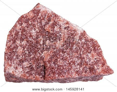 Red Quartzite Stone Isolated On White