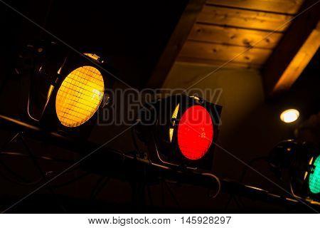 Yellow Red Green Dance Floor Spotlights Indoors Operational