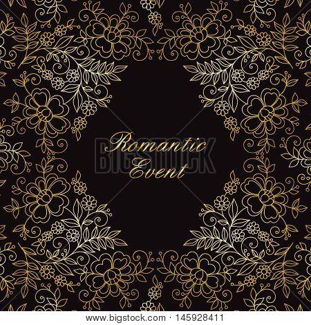 Flower design gold frame. Invitation or wedding card.