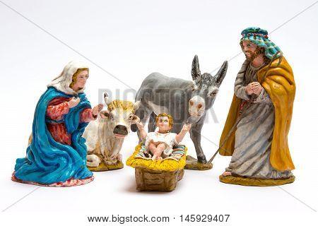 Scene nativity crafts, close up in white