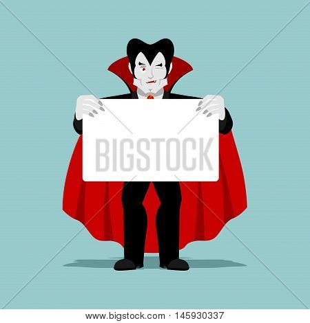 Dracula Keeps Clean Sheet. Vampire And White Banner. Ghoul Winks