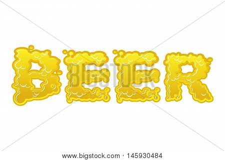 Beer Text Logo Typography. Liquid Yellow Letters. Alcoholic Lettering