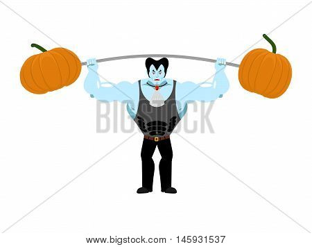 Strong Dracula Holding Rod And Pumpkin. Sports Vampire. Powerful Vampire. Illustration For Halloween