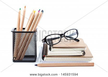 School and office supplies isolated on white background. Back to school.