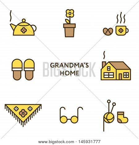 Grandmother's home. Set of flat line icons. Modern design.