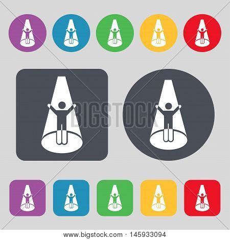 Spotlight Icon Sign. A Set Of 12 Colored Buttons. Flat Design. Vector