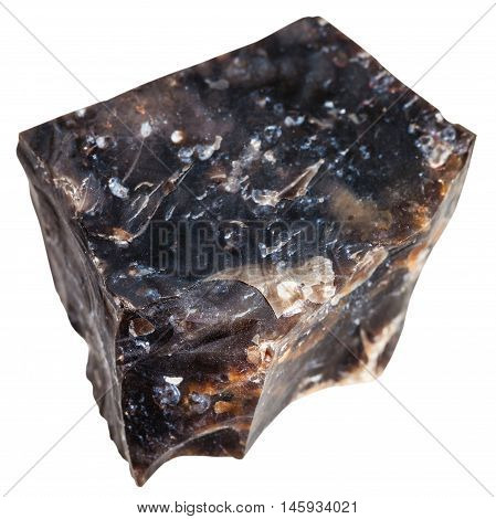 Natural Black Flint Mineral Isolated On White