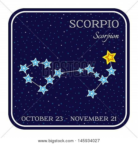 Scorpion zodiac constellation in square frame, cute cartoon style vector illustration isolated on white background. Square horoscope emblem with Scorpio constellation, zodiac sign name and month