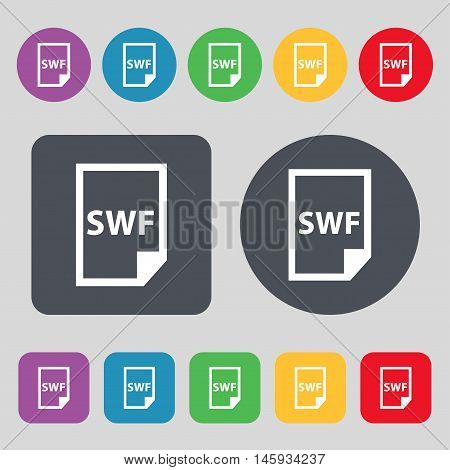Swf File Icon Sign. A Set Of 12 Colored Buttons. Flat Design. Vector