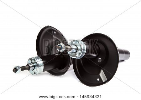 Car shock absorber isolated on white background.