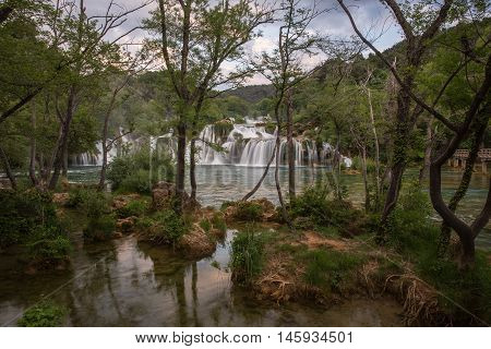 Amazing landscape of KRKA National Park waterfalls