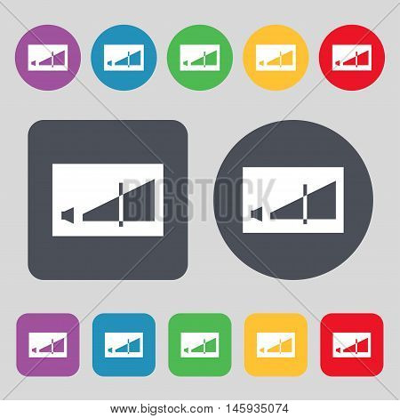 Volume Adjustment Icon Sign. A Set Of 12 Colored Buttons. Flat Design. Vector