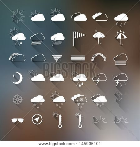 Vector set of weather icons on blurred background. Template illustration of weather forecast widget for web and mobile design