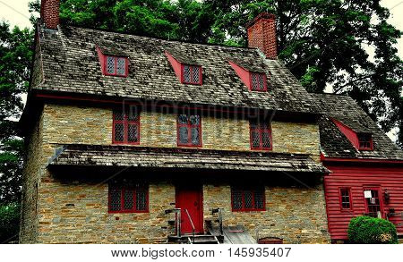 Dilworthtown Pennsylvania - June 3 2015: Early colonial era fieldstone 1704 John Brinton House built in the English medieval style